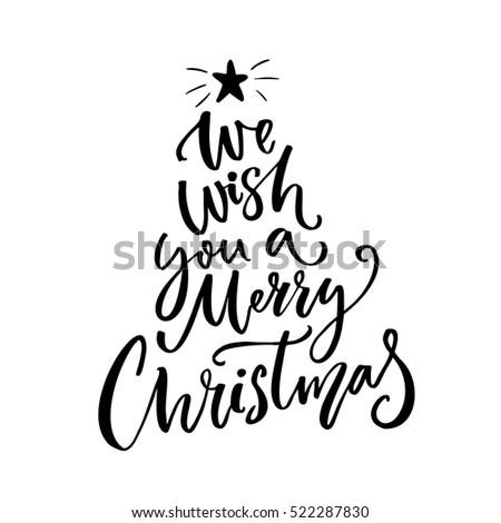 We Wish You Merry Christmas Typography Stock-Vektorgrafik ...