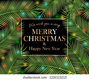We wish you a very Merry Christmas and Happy New Year. Tropical card. Vector illustration.