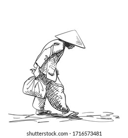 Weak hunched old woman in vietnamese hat walking with bag in hand, Vector sketch, Hand drawn illustration with cross hatching