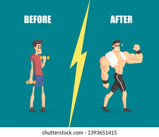 Weak and Muscular Men, Man Before and After Training, Demonstration of Progress in Training