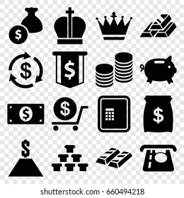 Wealth icons set. set of 16 wealth filled icons such as atm, crown, money, atm money withdraw, dollar, coin, gold bar, dollar sign