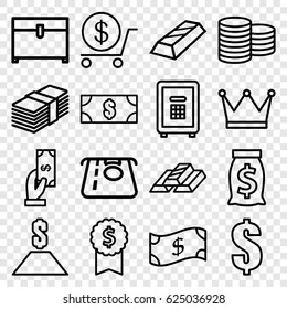Wealth icons set. set of 16 wealth outline icons such as Coin, ATM money withdraw, Payment, dollar, chest, safe, money, gold bar, crown, money sack, dollar award
