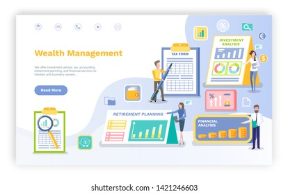 Wealth management vector, infographics and infocharts with investment plan and retirement information statistics on clipboard, page data. Invest manager, landing page flat style