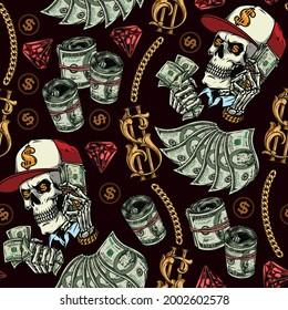 Wohlstand und Geld nahtloses Muster mit Goldketten Dollar-Schildern und Banknoten roter Diamanten-Schädel aus Baseballmütze und Skelett mit wertvollen Dekorationen, die Dollar-Scheine tragen Vektorgrafik
