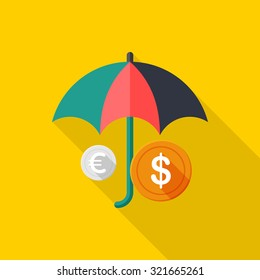 Wealth protection icon, vector illustration. Flat design style with long shadow,eps10