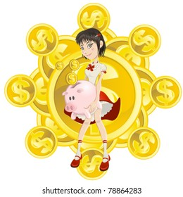 wealth rich girl holding piggy bank and gold coin