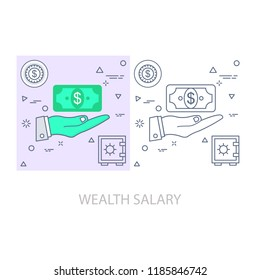 wealth salary Modern flat color line vector icon