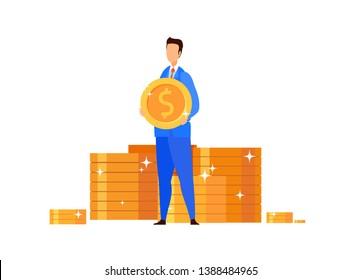 Wealthy Businessman, Banker Vector Illustration. Man in Suit Holding Golden Coin Cartoon Character. Stock Market Trader, Investor. Financial Literacy, Successful Entrepreneurship, Money Management