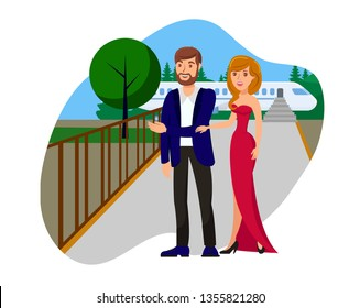 Wealthy Couple Flat Vector Illustration. Woman in Evening Dress, Man in Suit Standing near Private Jet Isolated Cartoon Characters. Festive Reception, Holiday Event, Ceremony. Celebrity Design Element