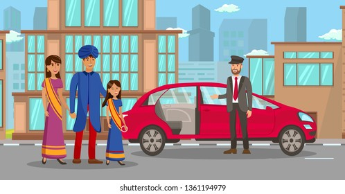 Wealthy Indian Family Waiting for Car Illustration. Father, Mother and Daughter Cartoon Characters. Rich People in Traditional Clothes. Chauffeur, Transportation Service Employee in Suit. Family Trip