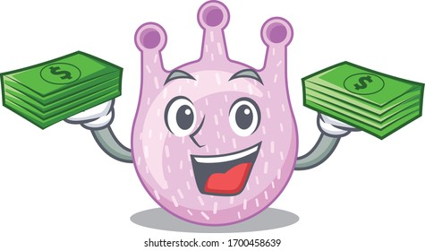 A wealthy viridans streptococci cartoon character having money on hands