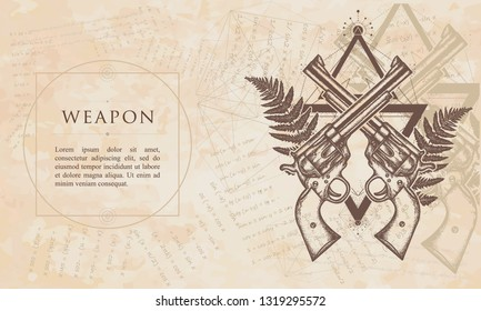 Weapon. Crossed guns and fern. Renaissance background. Medieval manuscript, engraving art