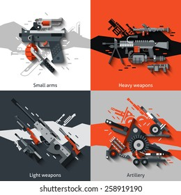 Weapon design concept set with small arms heavy light artillery flat icons isolated vector illustration