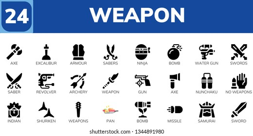 weapon icon set. 24 filled weapon icons.  Simple modern icons about  - Axe, Excalibur, Armour, Sabers, Ninja, Bomb, Water gun, Swords, Saber, Revolver, Archery, Weapon, Gun, Nunchaku