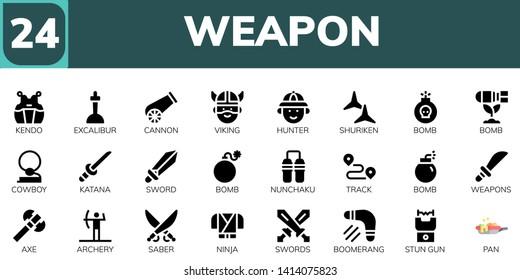 weapon icon set. 24 filled weapon icons.  Simple modern icons about  - Kendo, Excalibur, Cannon, Viking, Hunter, Shuriken, Bomb, Cowboy, Katana, Sword, Nunchaku, Track, Weapons