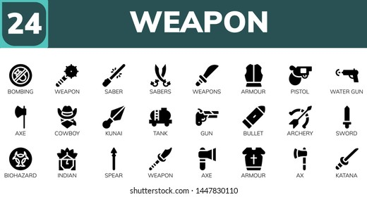 weapon icon set. 24 filled weapon icons.  Simple modern icons about  - Bombing, Weapon, Saber, Sabers, Weapons, Armour, Pistol, Water gun, Axe, Cowboy, Kunai, Tank, Gun, Bullet