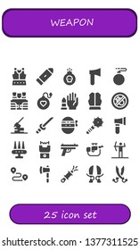 weapon icon set. 25 filled weapon icons.  Collection Of - Armour, Bullet, Bomb, Axe, Bulletproof vest, No weapons, Bombing, Katana, Ninja, Weapon, Stun gun, Gun, Rifle, Archery