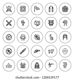 Weapon icon set. collection of 25 outline weapon icons with archery, bomb, carrier, cannon, coif, dynamite, katana, kunai, gun, killer mask, nunchaku icons. editable icons.