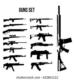 Weapon icon set, machine guns and rifles vector illustration of black and white.