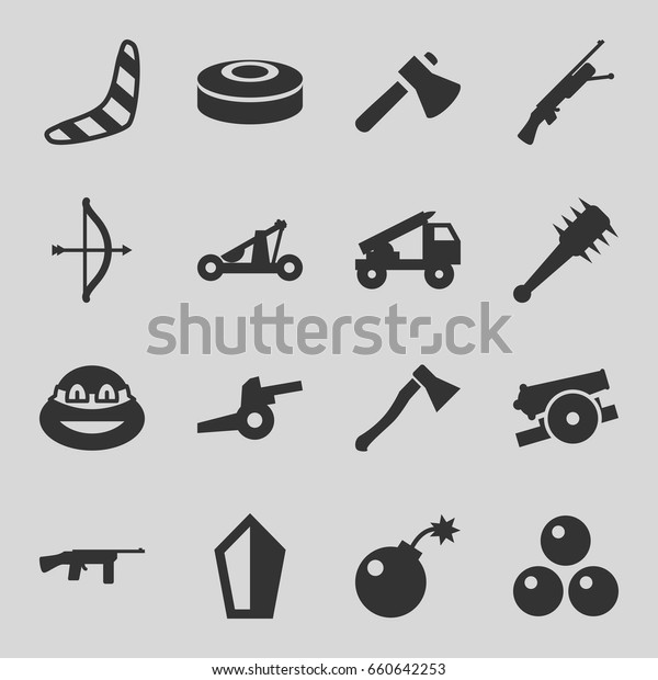 Weapon Icons Set Set 16 Weapon Stock Vector (Royalty Free
