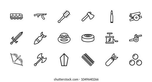 Weapon icons. set of 18 editable outline weapon icons: axe, ninja, sword, rocket bomb, dynamite, smoke bomb, mace, cannon, canon ball, bullet, ammo, submachine gun