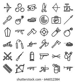 Weapon icons set. set of 36 weapon outline icons such as radar, axe, bow, bomb, caveman, rocket bomb, dynamite, arrow bow, catapult, mace, spear, cannon, canon ball, bullet