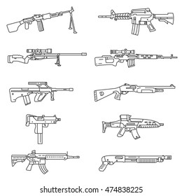 weapon icons set. firearms collection. Thin line design