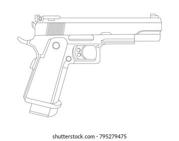 Weapon illustration, Vector Line, Pistol illustration, Military concept, Pistol vector line
