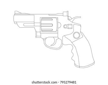Weapon illustration, Vector Line, Pistol illustration, Old gun, Military concept, Pistol vector line