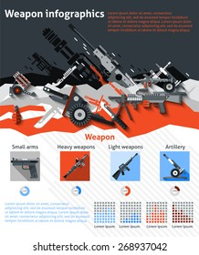 Weapon infographics set with military machines army artillery and charts vector illustration
