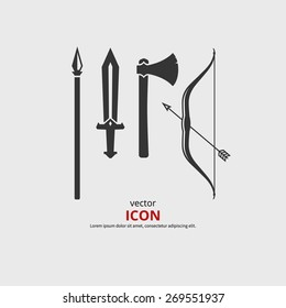Weapon medieval icons, axe, sword, bow, spear. Vector silhouette.