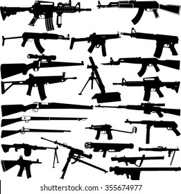 weapon silhouettes collection - vector