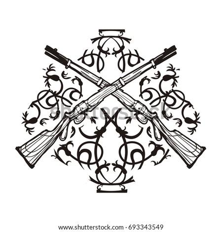 Weapon Vector Design Label Vintage Logo Stock Vector Royalty Free