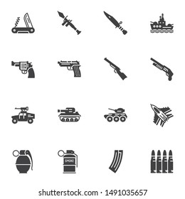 Weapons and ammunition vector icons set, modern solid symbol collection, filled style pictogram pack. Signs, logo illustration. Set includes icons as grenade gun, pistol, smoke grenade, fighter jet