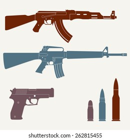 Weapons and military set. Sub machine gun, pistol and bullet icons isolated on white background. Vector illustration.