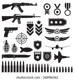 Weapons and military set. Sub machine guns, pistol and bullets black icons isolated on white background. Symbolics and badge for army. Vector illustration.