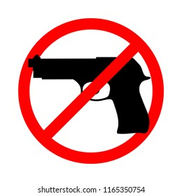 Weapons no icon. Stop guns sign. Gun in the red prohibition sign. Isolated icon on white background. Vector illustration