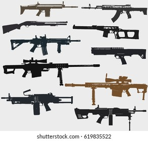 Weapons set: rifles, machine gun, shotgun, sniper rifles.