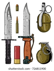 Weapons set. Two knives, bullets and two grenades isolated on white background