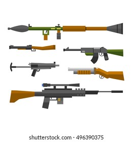 Weapons vector guns collection icons
