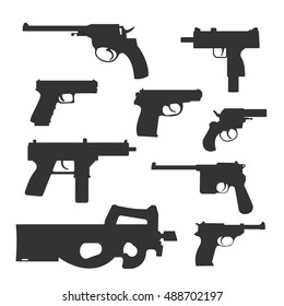 Weapons vector handguns collection set. Pistols, submachine guns icons. Silhouette illustration isolated on white background