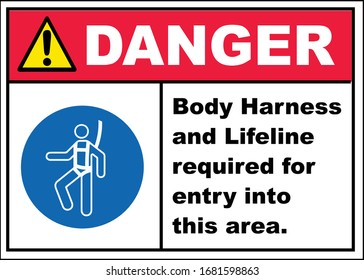 wear body harness and lifeline required