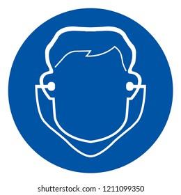 Wear Ear Plug Symbol Sign,Vector Illustration, Isolate On White Background Icon. EPS10
