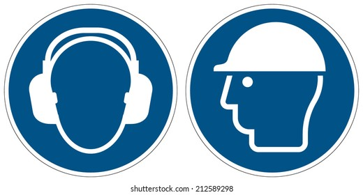 Wear ear protection, Wear head protection mandatory signs (eps 10)
