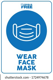 Wear face mask. Covid-19 free zone poster. Signs for shops, stores, hairdressers, establishments, bars, restaurants ...