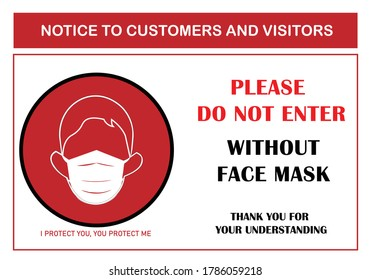 Wear face mask sign for business. Please do not enter without face mask. Warning pandemic sign for Coronavirus. Safety COVID-19. Protective mask. Mandatory sign vector. Protective face sign.  Masks