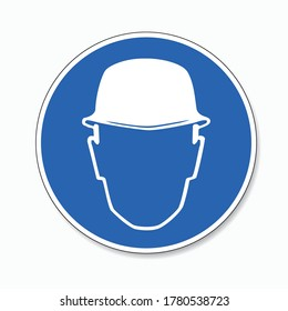 Wear head protection. Please Wear Head helmet Protection, mandatory sign or safety sign, on white background. Vector illustration. Eps 10 vector file.