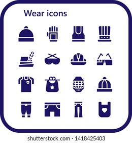 wear icon set. 16 filled wear icons.  Simple modern icons about  - Hat, Glove, Tank top, Sunglasses, Helmet, Virtual glasses, Football jersey, Bib, Baby hat, Pants, Shorts, Jeans