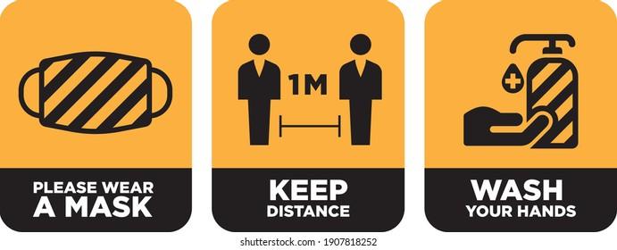 wear mask, keep distance, wash hand signage