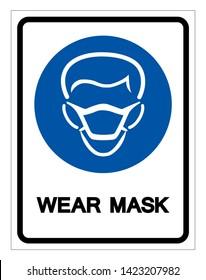 Wear Mask Symbol Sign,Vector Illustration, Isolated On White Background Label. EPS10